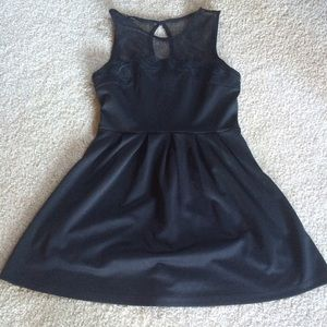 Dress, Black w/Mesh Detail
