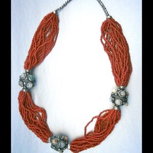 Jewelry - Coral Seed Bead Necklace & Silver Balls W/Stones