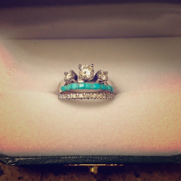 turquoise wedding band real gold ring - Turquoise Wedding Ring