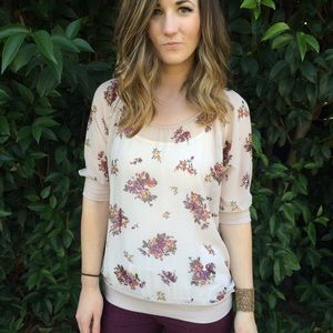 Tops - Floral sheer shirt
