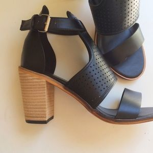 Perforated chunky block heels