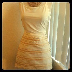 J Crew gold/white stripe mini skirt.
