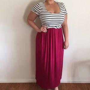 Dresses & Skirts - B&W Stripped Maroon Maxi*