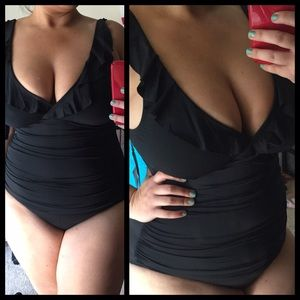 Other - Slimming Fit Swimsuit Swim Ruffled Black