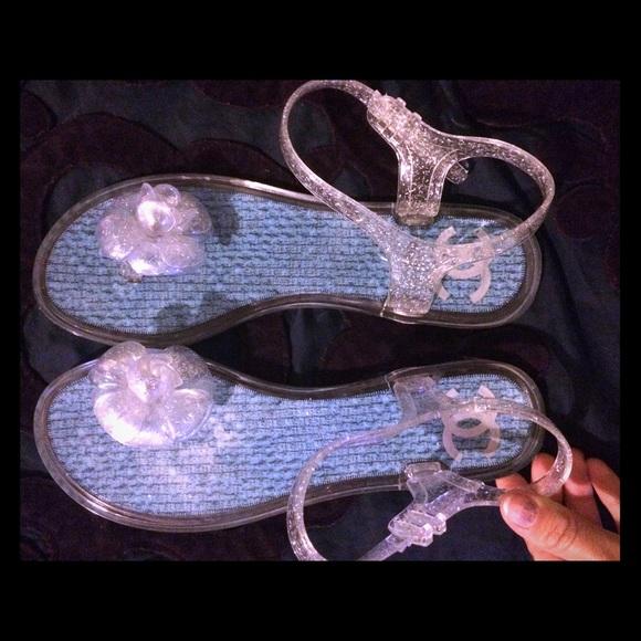 86b83ab46b073d CHANEL Shoes | Clear Aqua Jelly Sandals 39 | Poshmark
