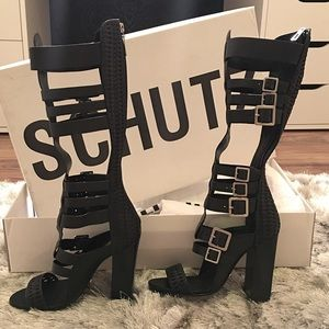 Balmain Shoes - • Schutz Black Heeled Gladiator Sandals