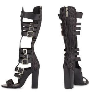 🏷 ❥ Schutz Black Heeled Gladiator Sandals