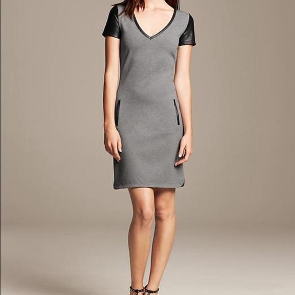 a13767f79e Banana Republic Dresses & Skirts - Banana Republic faux leather trim shift  dress