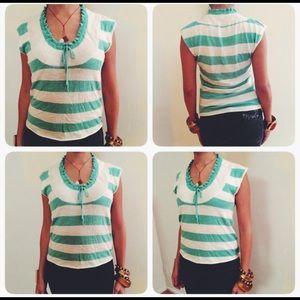 Kersh Tops - 💚Nautical Sailor Striped Green&White Sweater Top
