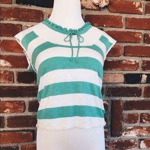 Kersh Tops - Nautical Sailor Striped boho Sweater Top SM