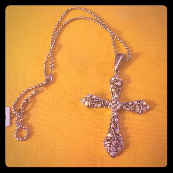Premier designs jewelry silver cross necklace poshmark for Premier jewelry cross ring