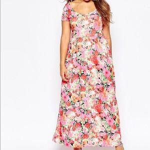 Club L Plus Size Maxi Dress w/ Cross Back Floral