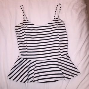 DNA Couture black and white striped peplum top