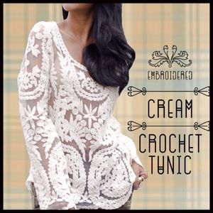 Boutique Tops - Mesh and Embroidered Lace Tunic
