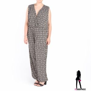 Melissa Masse Pants - Melissa Masse Black and White Plus Jumpsuit 1X, 2X
