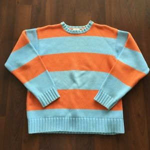 Jcrew sweater orange aqua stripes 100% cotton M