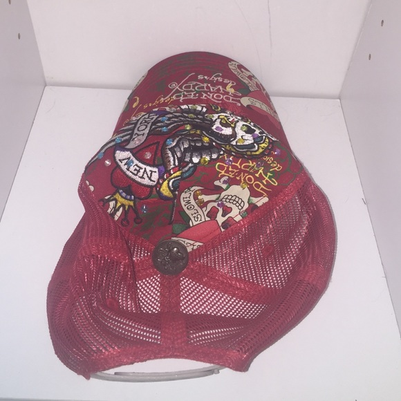 Ed hardy ed hardy mesh red hat with bling rhinestones for Red hat bling jewelry