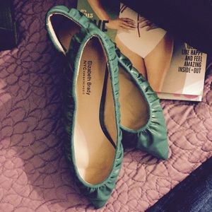 Turquoise Ruched leather flats, Sz 6.5