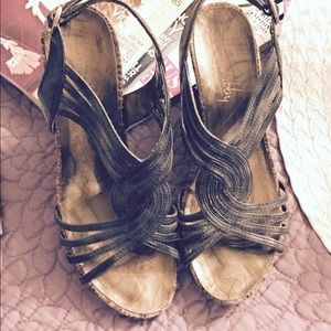 Sam & Libby Snakeskin leather wedges, Sz 7