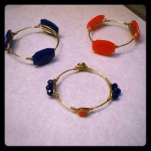 Orange and blue bangles - set of 3