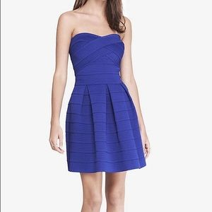 Blue elastic fit and flare dress !
