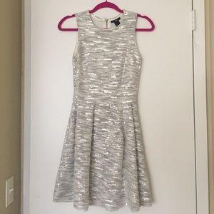 H&M size 4 silver & white sequin dress