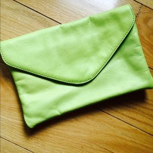 Perfect condition neon green envelope clutch