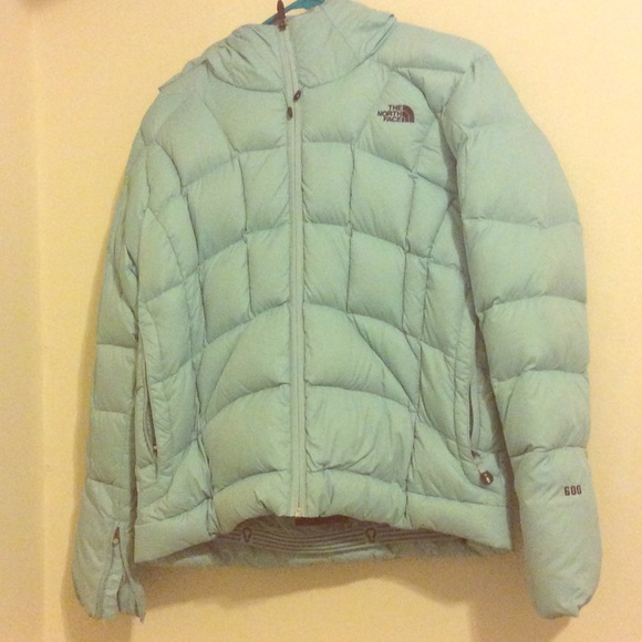 e2bbc5431 Light Blue North Face Hooded Puffer Jacket