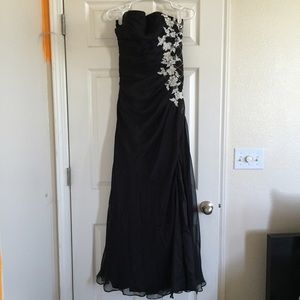Dresses & Skirts - PROM DRESS - BLACK W/ WHITE FLOWERS.