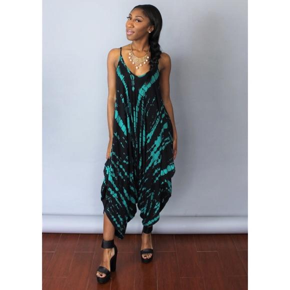 1f4c79ec116 Emerald tie dye harem style jumpsuit