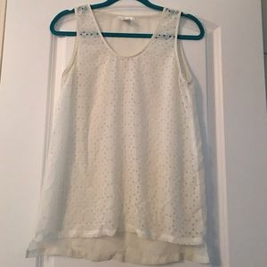 Tops - Off- White Sheer Patterned Tank