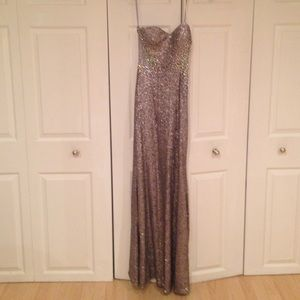 La Femme Dresses & Skirts - La Femme Silver sequence gown size 4 w/ tags new