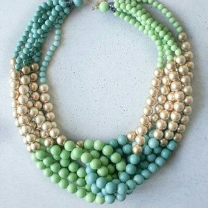 Beaded statement gold necklace