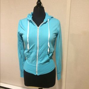 Tops - Pretty turquoise zip up hoodie. Worn one time.