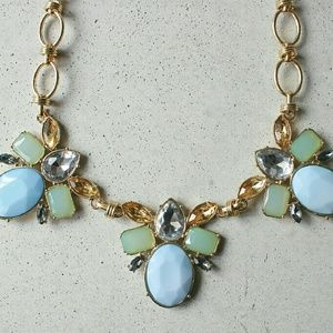 Blue oval gold statement necklace