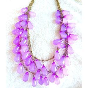 Baby Lavender Teardrop Statement Necklace
