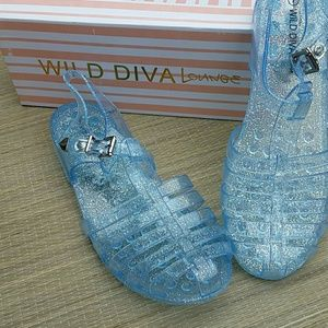 98368c53dee1 Wild Diva Shoes - Wild Diva Lounge Blue Jelly Shoes Size 7 New
