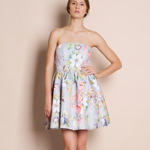 Strapless Floral Flare Dress
