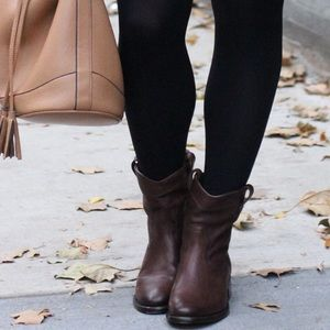 Leather flat booties
