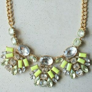 Neon yellow leaf statement necklace
