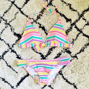Victoria's Secret Other - Victoria's Secret Multi Gold Striped Bikini (S/M)