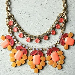 Orange flower statement coral necklace