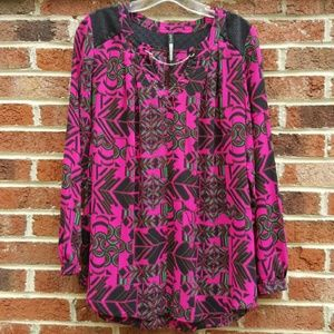 Plenty by Tracey Reese Hot Pink Print Blouse