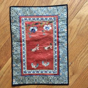 VINTAGE CHINESE SILK EMBROIDERED TAPESTRY for sale