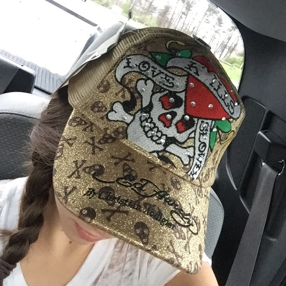 fb9de237b03 Glitter Ed Hardy Love Kills Slowly Rhinestoned Hat