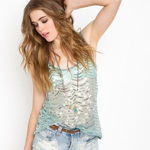 NASTY GAL | mermaid scallop sequin tank top (Sz L)