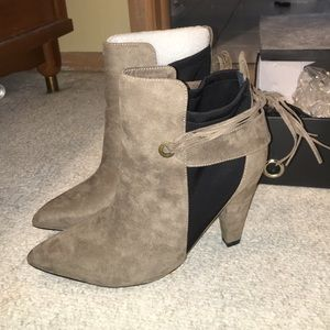 Eloquii Shoes - Faux suede taupe and black stretch booties.