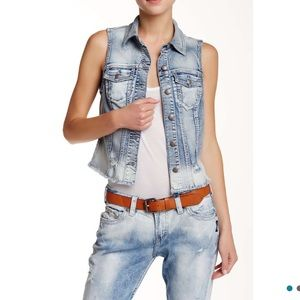 Silver Jeans Jackets & Blazers - Light Wash Vintage Distressed Sleeveless Jean Vest