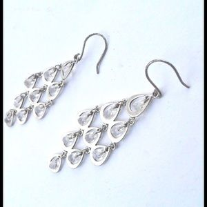 Jewelry - Silver Tone Teardrop Beads Chandelier Earrings