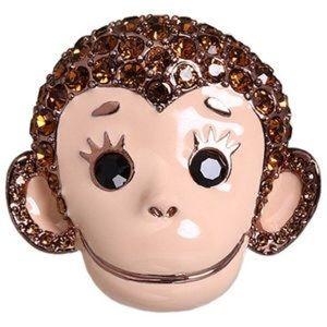 Betsey Johnson Monkey Necklace & Ring Set